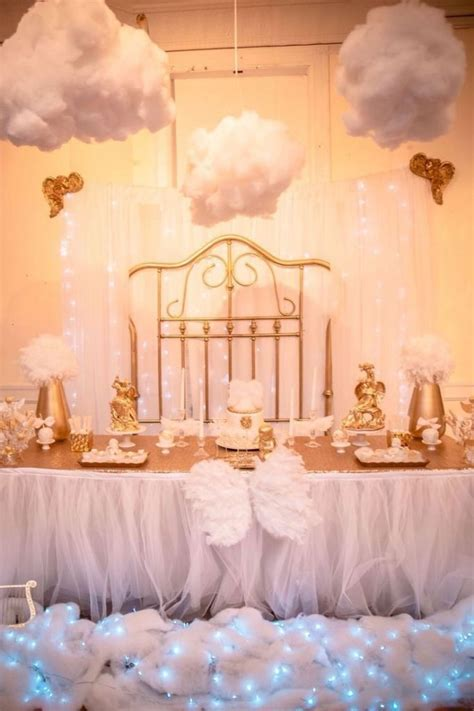 Angel Theme Baby Shower Cake   Heaven Sent Baby Shower