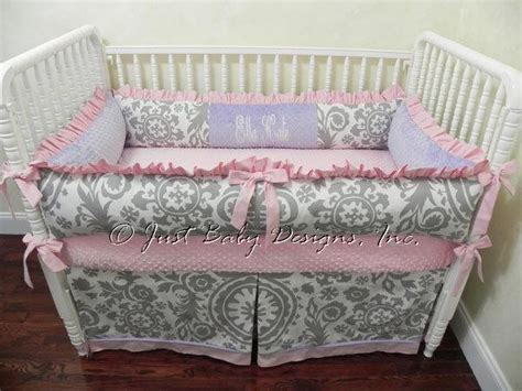 Lavender And Gray Crib Bedding by Custom Crib Bedding Ella Kate Gray And White By Babybedding On Zibbet