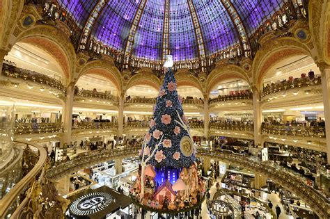 top 10 pictures of christmas trees for christmas day paris galeries lafayette installed its magnificent