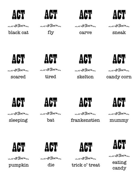halloween themed charades print out halloween charades list charades word list