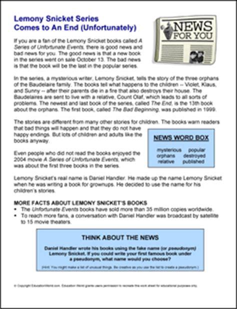The Lemony Snicket Worksheets