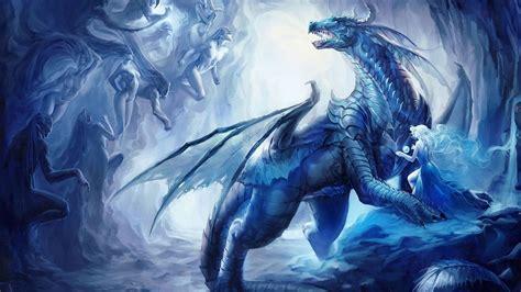 blue fantasy dragon ice cave art fantasy hd wallpaper