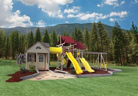swing set with playhouse pinterest the world s catalog of ideas