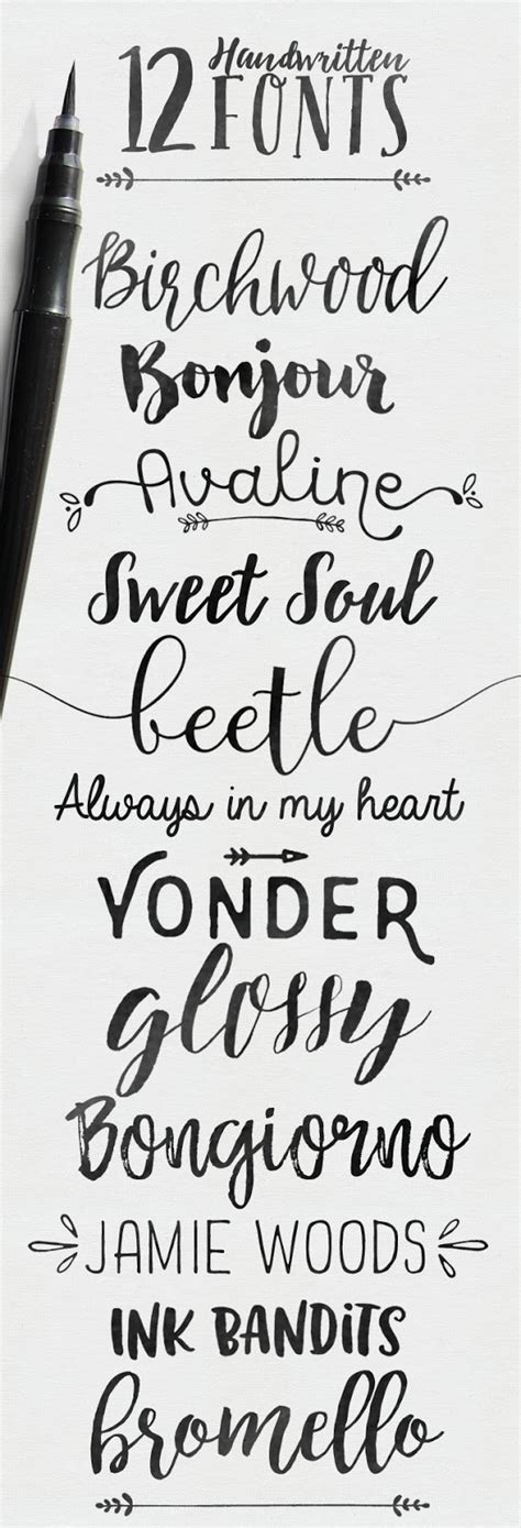 typography cursive 12 handwritten fonts skyla design