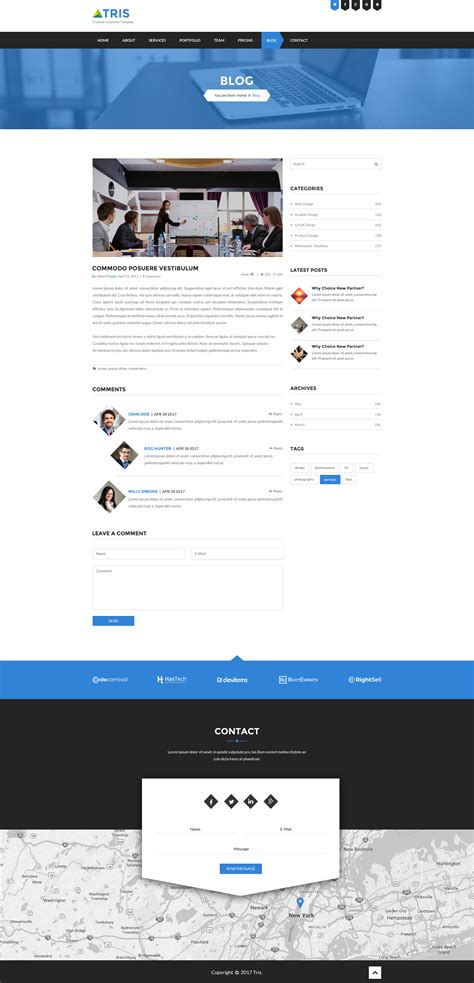 theme blog blue tris one page business website psd template by