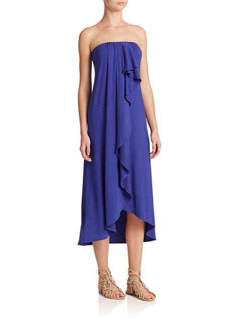 Strapless Frill Dress In The Style Of Miller ella moss strapless ruffle midi dress in blue lyst