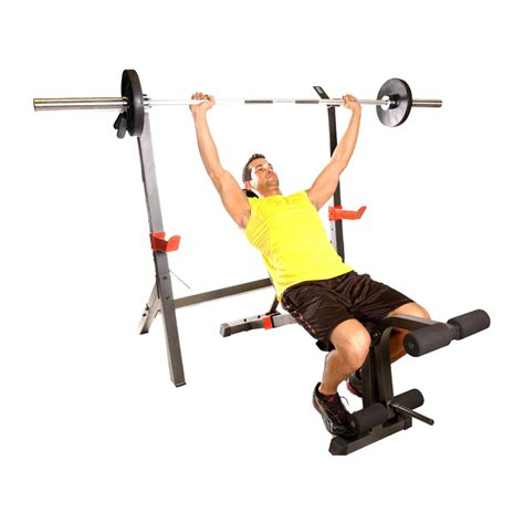 squat and bench press cap barbell olympic weight bench w squat rack fm 7105