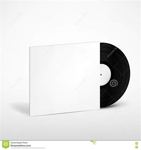 vinyl record with cover mockup stock illustration image