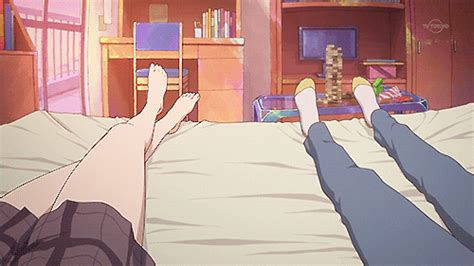 anime bed gif anime room bed feet legs anime gif littlelionelle