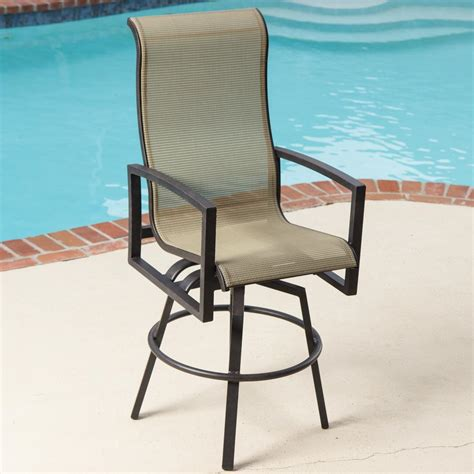 Outdoor Patio Bar Chairs Acadia Sling Swivel Patio Bar Stool By Lakeview Outdoor Designs
