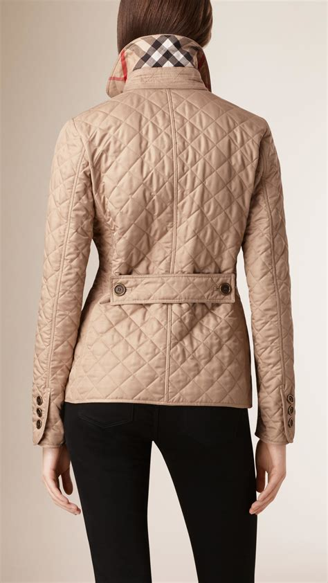 lyst burberry diamond quilted jacket  natural