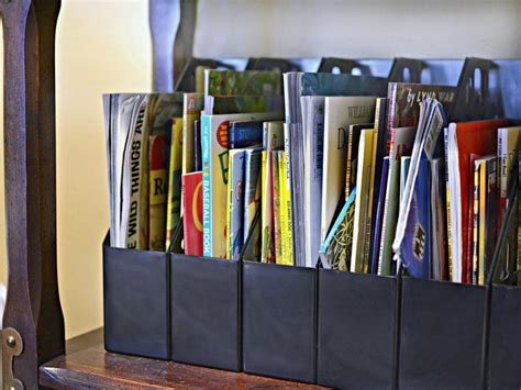 magazine holders for bookshelves repurposing everyday items for a more organized home