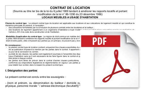 Bail Meublé Pdf contrat de location gratuit conforme au mod 232 le type