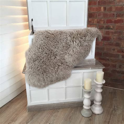 sheepskin wool rug oyster superior curly wool sheepskin rug by cowshed interiors notonthehighstreet