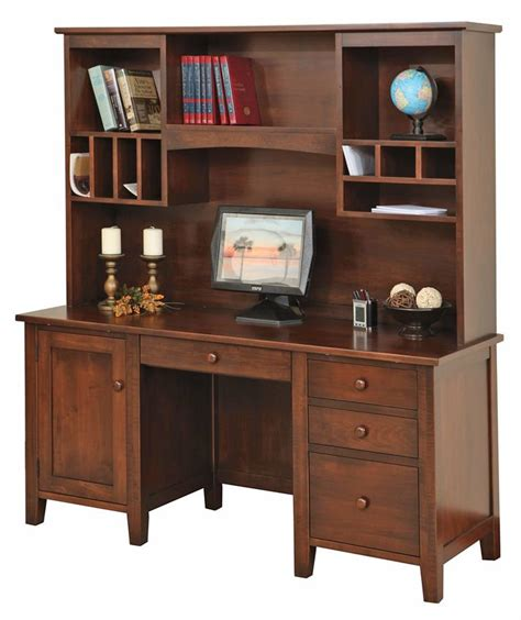 Credenza Desk With Hutch Manhattan Credenza Desk With Optional Hutch Top From Dutchcrafters