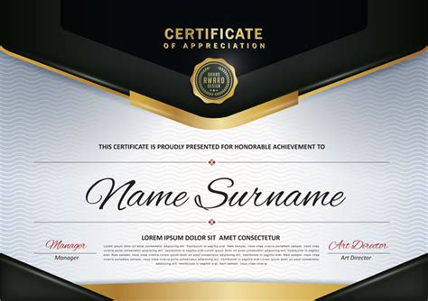 certificate with diploma template luxury vector material