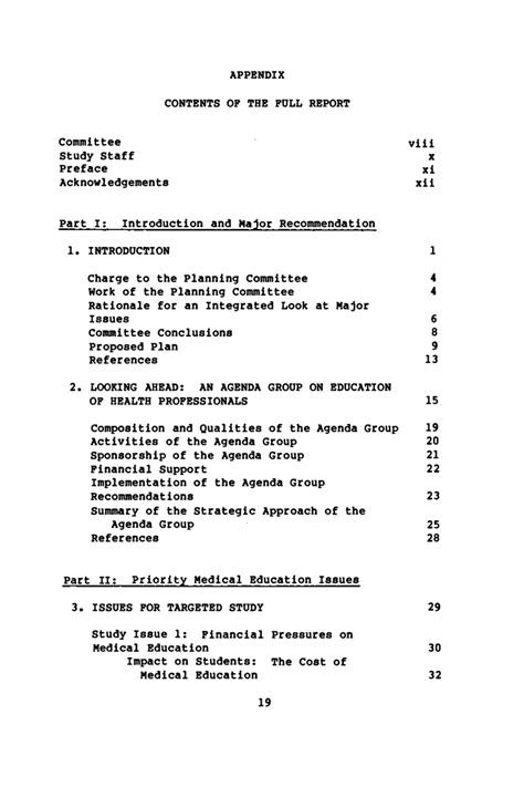 appendix contents of the report education