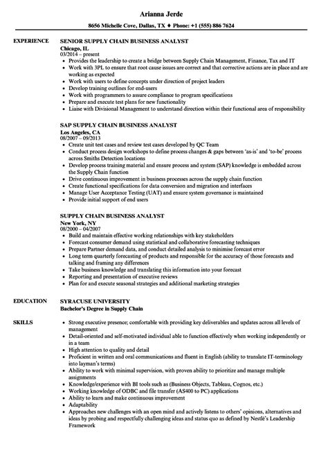 Supply Chain Analyst Resume by Supply Chain Business Analyst Resume Sles Velvet