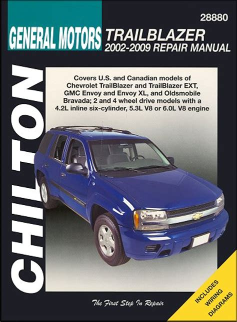 car owners manuals free downloads 2002 gmc envoy xl electronic throttle control trailblazer envoy bravada repair manual 2002 2009 chilton