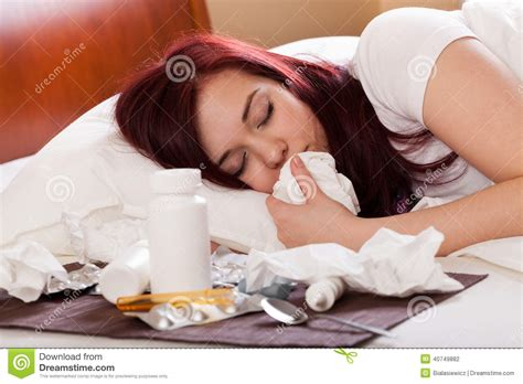bed medicine sick woman sleeping stock photo image 40749882