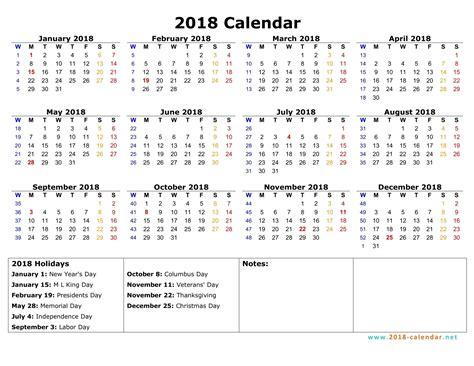 12 Month Calendar 2018 Printable 2018 Calendar