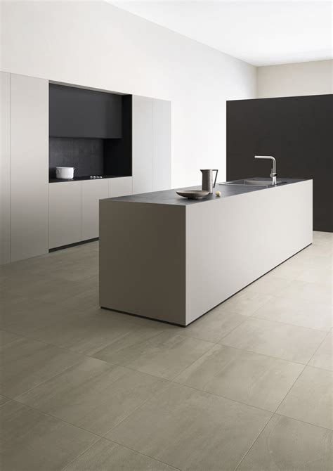 Concrete effect porcelain tiles in seven shades of grey