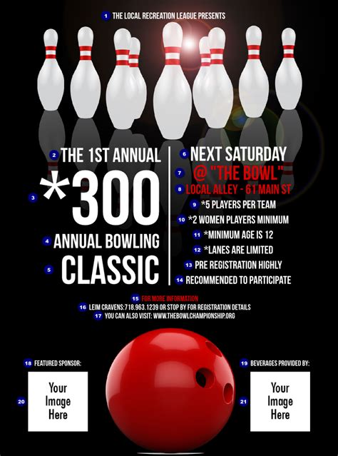 bowling flyer template bowling classic flyer ticket printing