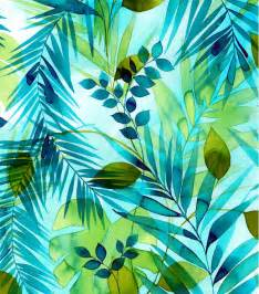 Free Online Upholstery Classes Tropical Fabric Teal Green Leaves Watercolor Rayon Jo Ann