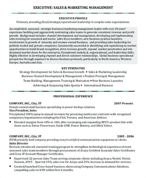 sle marketing cv template professional manager resume
