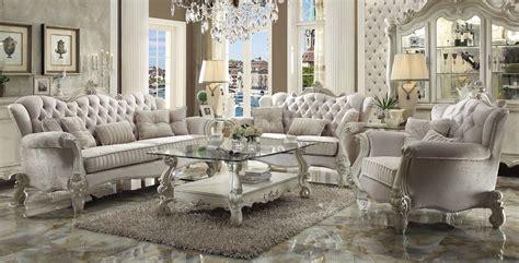 versailles traditional ivory velvet formal living room set