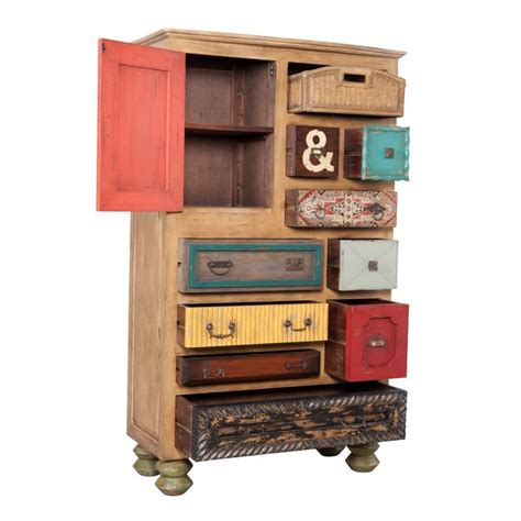 multi colored drawer chest whimsical mosaic treasures tall chest multi colored