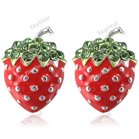strawberry face shaped pair of lovely strawberry shaped earrings for female naf