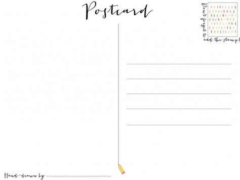post card template twinkl postcard clipart plain pencil and in color postcard