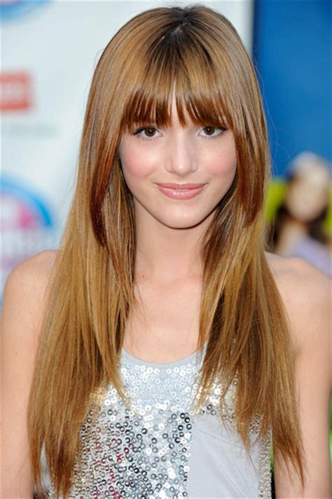 images of long straight hair cut with bangs and patial shag bella thorne long hairstyle with bangs