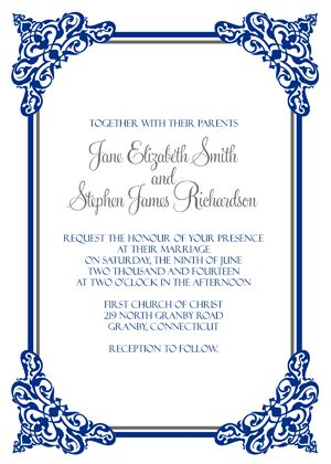 Intricate Border Invitation Rsvp Wedding Invitation Templates Printable Invitation Kits Border Invitation Templates Free
