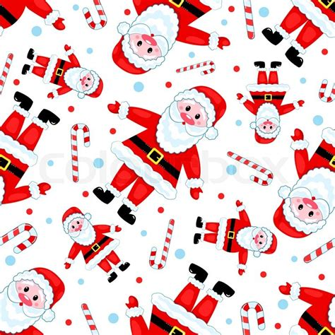 Christmas Pattern White Background | seamless santas pattern on white vector christmas