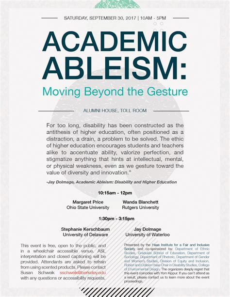 academic ableism disability and higher education corporealities discourses of disability books academic ableism and alternatives conference symposium