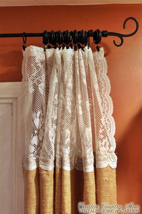 Burlap And Lace Curtains Creative Country Sewing Burlap And Lace Curtains Futura Home Decorating