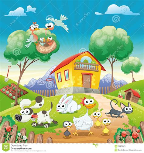 Home with Animals. stock vector. Image of animal, cloud