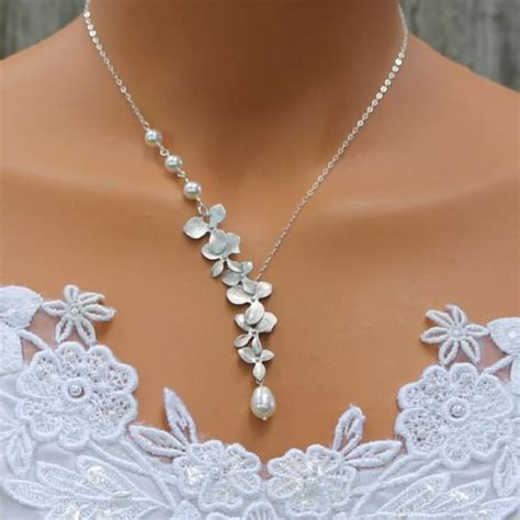 Hochzeitsschmuck Kette by Orchid Necklace Pearl Necklace Silver Orchids Wedding