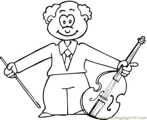 musician with viola coloring page free instruments