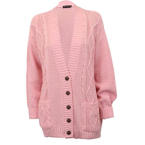 pink pattern cardigan ladies cardigans womens knitted jumper cable jacquard