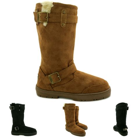 thick sole boots for new womens flat fur buckle winter ella biker boots thick