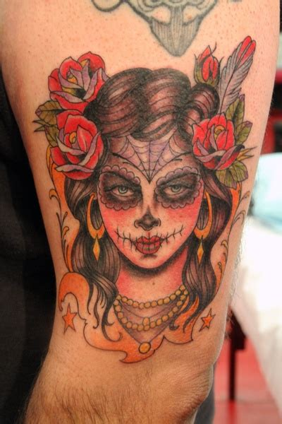 day of the dead skull rose feather spider web tattoo catrina