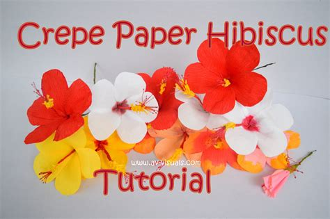 How To Make Hawaiian Flowers Out Of Paper - how to make hibiscus flower from crepe paper tutorial