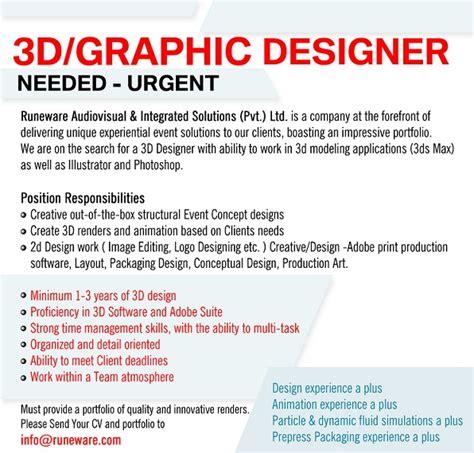 graphic design vacancy indonesia 3d graphic designer job vacancy in sri lanka