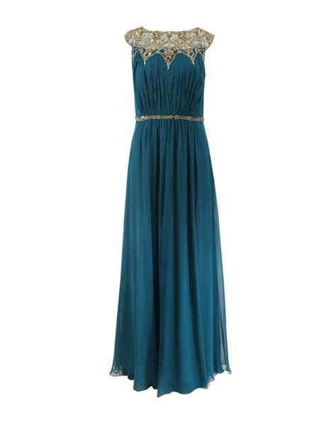 Marchesa Silk Chiffon Gown by Notte By Marchesa Silk Chiffon Beaded Neck Gown In Blue