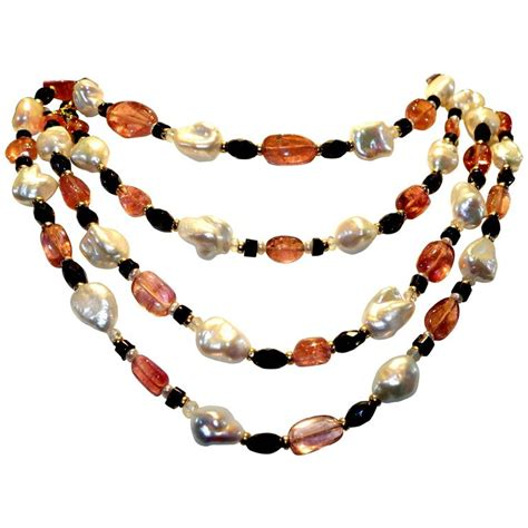 Gold Pearl Cat Necklace Pink White Bow Kalung Kucing Emas Silver pink tourmaline baroque pearl onyx gold sautoir