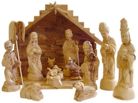 hand carved olive wood christmas nativity set with stable