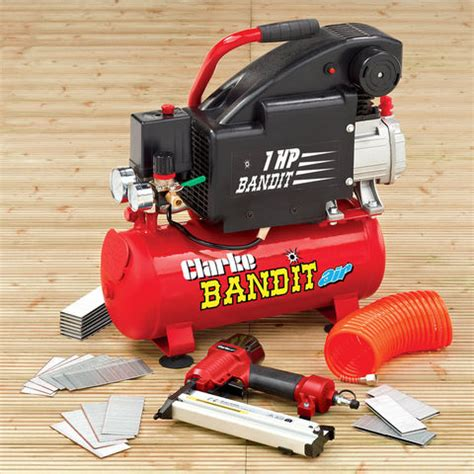 clarke bandit 4 8 litre air compressor nailing stapling kit machine mart machine mart